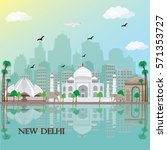 new delhi city skyline with... | Shutterstock .eps vector #571353727