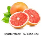 grapefruit with slices isolated ... | Shutterstock . vector #571355623