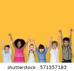 little children hands up happy | Shutterstock . vector #571357183