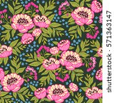 seamless floral pattern with... | Shutterstock .eps vector #571363147