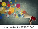 megaphone talks colourful | Shutterstock . vector #571381663