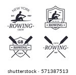 rowing team logo. emblem of... | Shutterstock . vector #571387513
