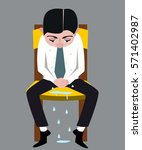 crying man vector cartoon | Shutterstock .eps vector #571402987