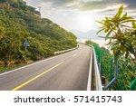 winding lake  road   | Shutterstock . vector #571415743