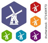 ancient windmill icons set... | Shutterstock .eps vector #571434973