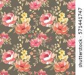 vector watercolor  floral... | Shutterstock . vector #571441747