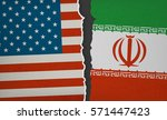flag of usa and iran torn apart ...