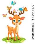 cute baby deer and butterflies | Shutterstock .eps vector #571447477