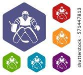 hockey goalkeeper icons set...
