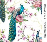 watercolor pattern peacock on a ...   Shutterstock . vector #571449403