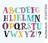 bright alphabet set in vector.... | Shutterstock .eps vector #571457203