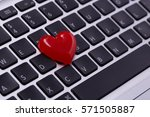 red heart on laptop love online ... | Shutterstock . vector #571505887