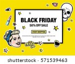 black friday 50  off sale start ... | Shutterstock .eps vector #571539463