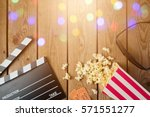 movie clapper board  3d glasses ... | Shutterstock . vector #571551277