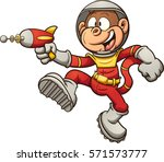 space monkey with a retro ray... | Shutterstock .eps vector #571573777