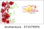 watercolor flower banner  red... | Shutterstock .eps vector #571579093