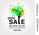 spring sale banner with ... | Shutterstock .eps vector #571595617