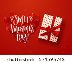 valentine s  card design with... | Shutterstock .eps vector #571595743