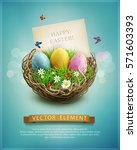 Vector Vintage Easter Eggs In ...