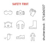 set of safety equipment icons.... | Shutterstock .eps vector #571606537