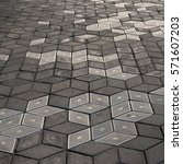 gray plates of street pavement... | Shutterstock . vector #571607203