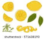 set of vector hand drawn lemon. ... | Shutterstock .eps vector #571638193