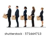 unemployed employees standing... | Shutterstock . vector #571664713