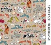 animals in love pattern   Shutterstock .eps vector #571668157