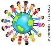 children or kids hand in hand...   Shutterstock .eps vector #571676623