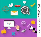 set icons for social networking ...   Shutterstock .eps vector #571681867