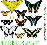 vector set of butterflies of... | Shutterstock .eps vector #571683433