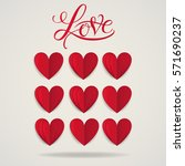 cut paper red valentine hearts... | Shutterstock .eps vector #571690237