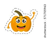 cartoon yellow pepper happy... | Shutterstock .eps vector #571705963