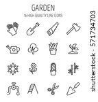 set of garden icons in modern... | Shutterstock .eps vector #571734703