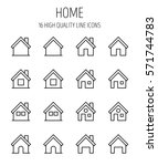 set of home icons in modern... | Shutterstock .eps vector #571744783