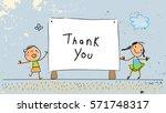 kids thank you card vector...   Shutterstock .eps vector #571748317