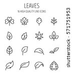 set of leaf icons in modern... | Shutterstock .eps vector #571751953