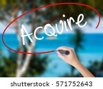 Small photo of Woman Hand Writing Acquire with black marker on visual screen. Isolated on nature. Business concept. Stock Photo
