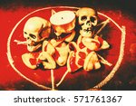 Small photo of Scary object photography on a spell to Satan with pizzas and skulls under offering. Pizzagate