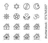 set of religion icons in modern ... | Shutterstock .eps vector #571765207