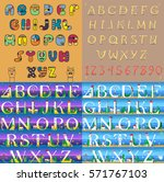 vintage and travel alphabets.... | Shutterstock .eps vector #571767103