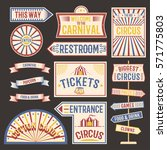 circus vintage label banner... | Shutterstock .eps vector #571775803