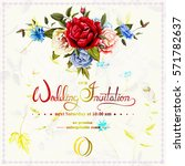 wedding invitation with wild... | Shutterstock .eps vector #571782637