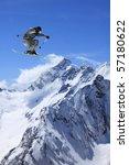 flying skier on mountains | Shutterstock . vector #57180622