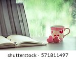heart pink cookies and coffee... | Shutterstock . vector #571811497