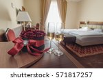 elegant hotel room with rose... | Shutterstock . vector #571817257