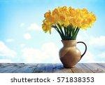 Vase Full Of Daffodil Flowers...