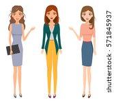 set of business woman character ...   Shutterstock .eps vector #571845937