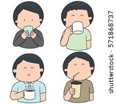 vector set of people drinking | Shutterstock .eps vector #571868737