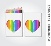 blank box of 12 colored pencils ... | Shutterstock .eps vector #571870873